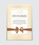 Vintage Wedding Invitation with Bow and Ribbon Template Vector I. Llutsration EPS10 vector illustration