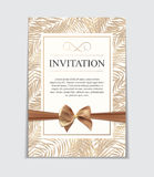 Vintage Wedding Invitation with Bow and Ribbon Template Vector Illutsration Royalty Free Stock Image