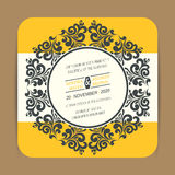 Vintage wedding invitation card. Or announcement with yellow flowers Stock Image