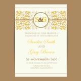 Vintage wedding invitation card Stock Images