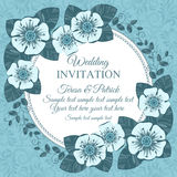 Vintage wedding invitation card, blue Stock Photo