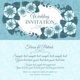 Vintage wedding invitation card, blue Royalty Free Stock Photography