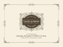 Vintage Wedding invitation card border and frame template Stock Photos