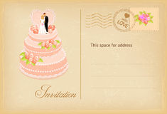 Vintage wedding invitation card. Wedding invitation card with cake in retro style. Vector illustration Stock Images