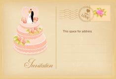 Vintage wedding invitation card. Wedding invitation card with cake in retro style. Vector illustration vector illustration