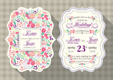 Vintage wedding invitation card with flower template Royalty Free Stock Image