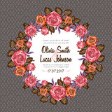 Vintage wedding invitation card frame with roses Royalty Free Stock Images