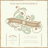 Vintage wedding invitation card. N Vector Stock Photography