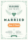Vintage wedding invitation Stock Photography