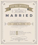 Vintage wedding invitation card Stock Images