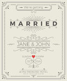 Vintage wedding invitation card Royalty Free Stock Image