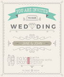 Vintage Wedding Invitation Card template Royalty Free Stock Image