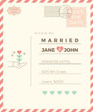 Vintage wedding invitation card template Royalty Free Stock Photos