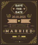 Vintage wedding invitation card template Royalty Free Stock Photography