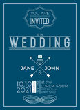 Vintage wedding invitation card template Royalty Free Stock Images