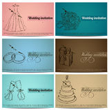 Vintage wedding invitation cards set. Stock Images