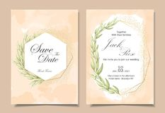 Vintage Wedding Invitation Cards wih Watercolor Background Texture, Geometric Golden Frame, and Watercolor Hand Drawing Leaves. vector illustration