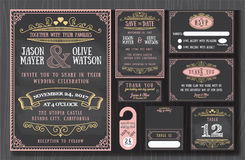 Vintage wedding invitation chalkboard design Royalty Free Stock Image