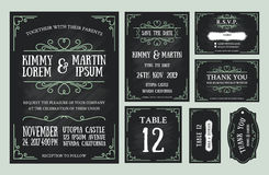 Vintage wedding invitation chalkboard design sets. Include Invitation card, Save the date, RSVP card, Thank you card, Table number, Gift tags, Place cards Stock Image