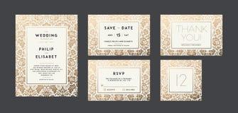 Vintage Wedding Invitation collection. Modern design royalty free illustration