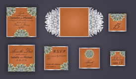 Vintage wedding invitation design set include Invitation card, Save the date, RSVP card, Thank you card, Table number, Place cards Royalty Free Stock Photography