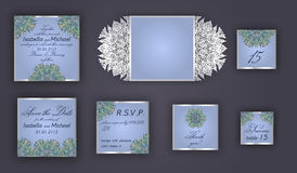 Vintage wedding invitation design set include Invitation card, Save the date, RSVP card, Thank you card, Table number, Place cards Stock Images