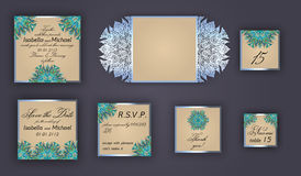 Vintage wedding invitation design set include Invitation card, Save the date, RSVP card, Thank you card, Table number, Place cards Stock Photo