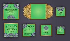 Vintage wedding invitation design set include Invitation card, Save the date, RSVP card, Thank you card, Table number, Place cards Royalty Free Stock Images