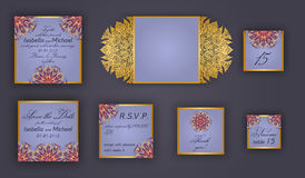 Vintage wedding invitation design set include Invitation card, Save the date, RSVP card, Thank you card, Table number, Place cards Royalty Free Stock Photo
