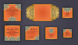 Vintage wedding invitation design set include Invitation card, Save the date, RSVP card, Thank you card, Table number, Place cards Stock Photography