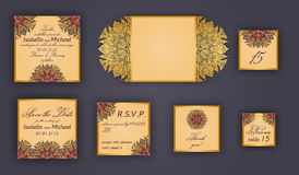 Vintage wedding invitation design set include Invitation card, Save the date, RSVP card, Thank you card, Table number, Place cards Royalty Free Stock Image