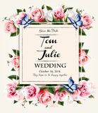Vintage wedding invitation desing with coloful flowers Royalty Free Stock Images