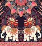 Vintage wedding invitation, greeting card or luxury seamless retro pattern with exotic elephants, peacocks, mandala and paisley. Border. African, indian, thai stock illustration