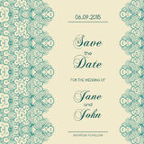 Vintage wedding invitation with lace border Royalty Free Stock Photos