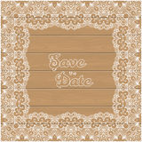 Vintage wedding invitation with lace border Royalty Free Stock Photo