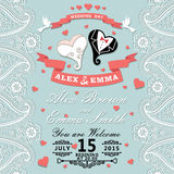 Vintage wedding invitation with Paisley border,cartoon wedding h Stock Photography