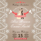 Vintage wedding invitation with Paisley border lace,groom, bride Royalty Free Stock Photography