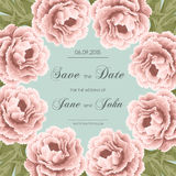 Vintage wedding invitation with peonies Royalty Free Stock Photo