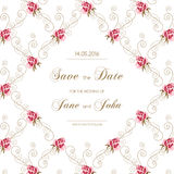 Vintage wedding invitation with roses Royalty Free Stock Photo