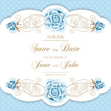 Vintage wedding invitation with roses Royalty Free Stock Photos