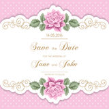 Vintage wedding invitation with roses Stock Images