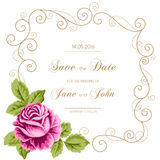 Vintage wedding invitation with roses Stock Photo