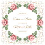 Vintage wedding invitation with roses Stock Photo