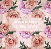 Vintage Wedding invitation with roses flowers Vector. Old Grunge effect. 3d illustrations royalty free illustration