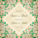 Vintage wedding invitation with roses Stock Photography