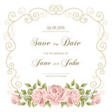 Vintage wedding invitation with roses Royalty Free Stock Photo