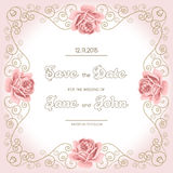Vintage wedding invitation with roses Royalty Free Stock Images