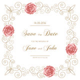 Vintage wedding invitation with roses Stock Photos