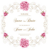 Vintage wedding invitation with roses Royalty Free Stock Photography