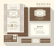 Vintage wedding invitation set design Template. Vintage design wedding invitation set Template Vector place card response card save the date card Royalty Free Stock Photography